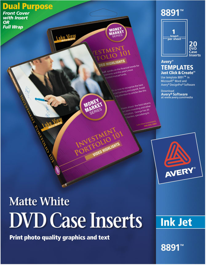Avery Matte White Dvd Case Inserts 20 Inserts 8891 Avery Com