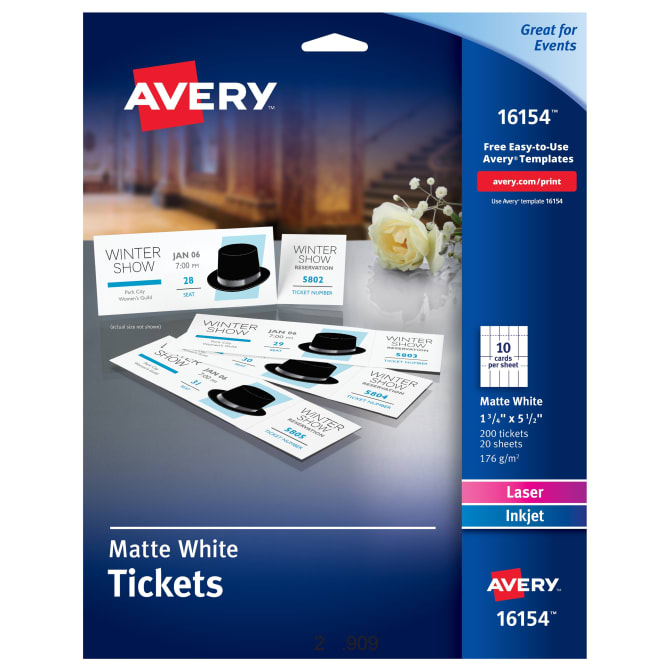 avery printable tickets with tear away stubs 1 34 x 5 12 200 tickets 16154 averycom