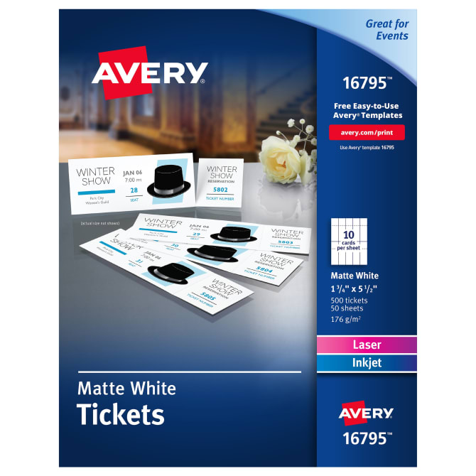 Avery Printable Tickets With Tear Away Stubs 1 34 X 5 12 500