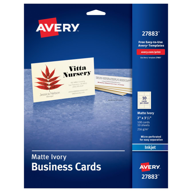 Avery Printable Business Cards 100 Cards (27833) | Avery.com