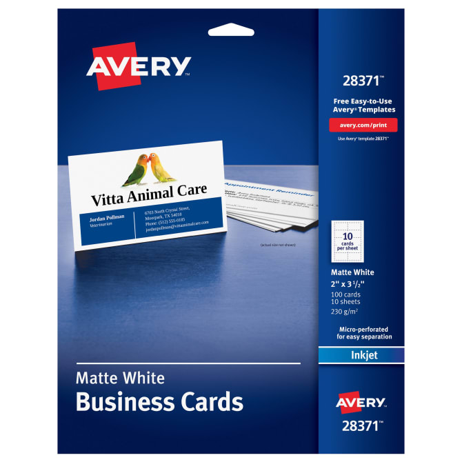 Avery printable business cards 100 cards 28371 avery accmission Choice Image