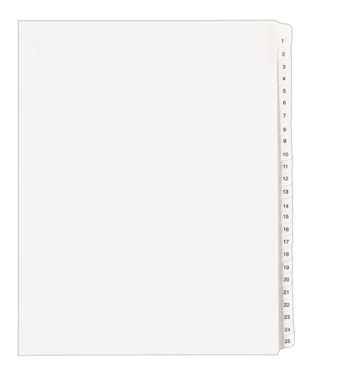 Letter Size Avery Individual Legal Dividers 01051
