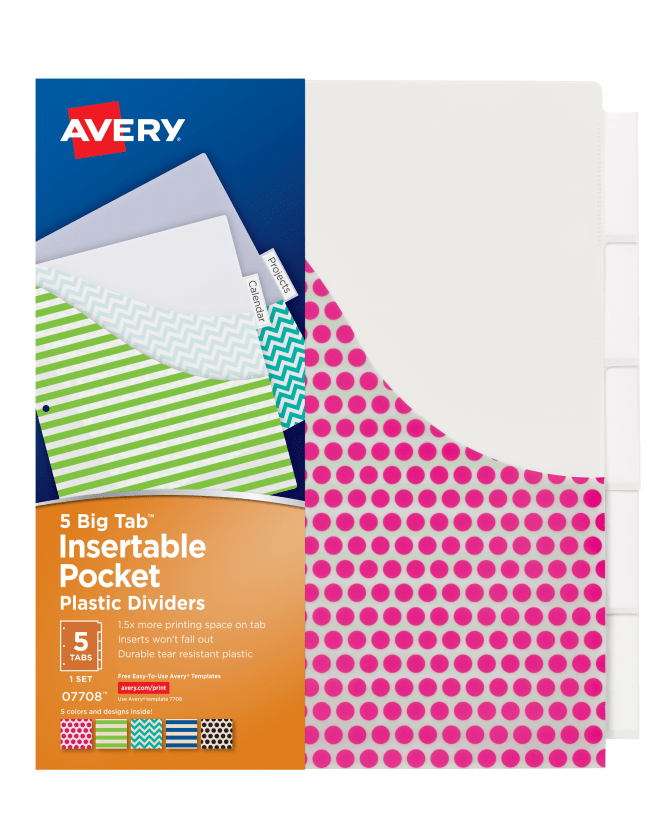 Avery Big Tab Insertable Plastic Dividers With Pockets Assorted