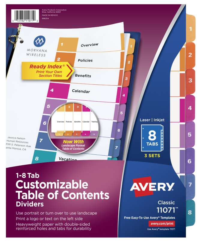 Avery Customizable Table Of Contents Dividers 8 Tabs Multicolor