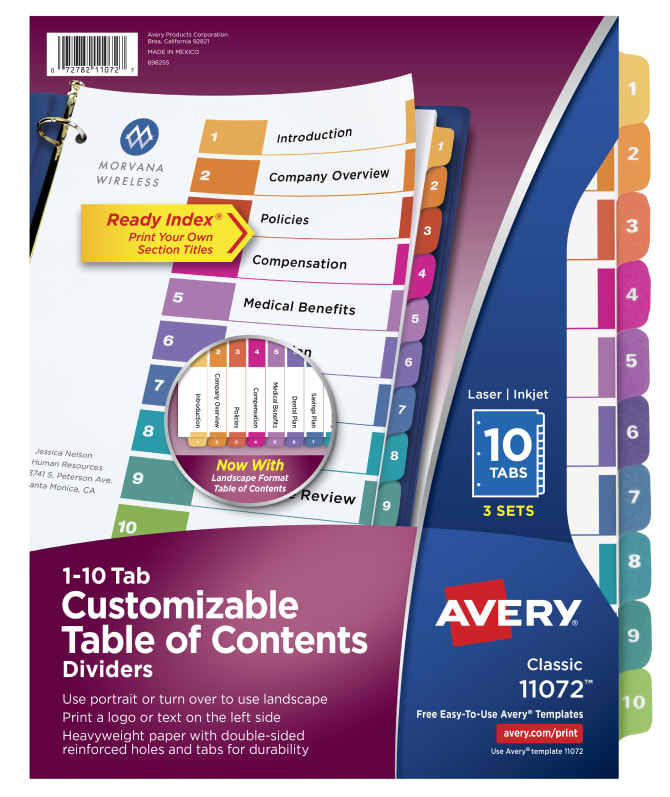 Avery Customizable Table Of Contents Dividers 10 Tabs Multicolor