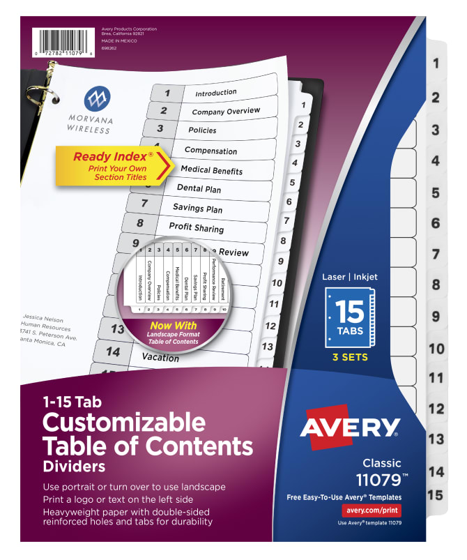 Avery Customizable Table Of Contents Dividers 15 Tabs 3 Sets 11079