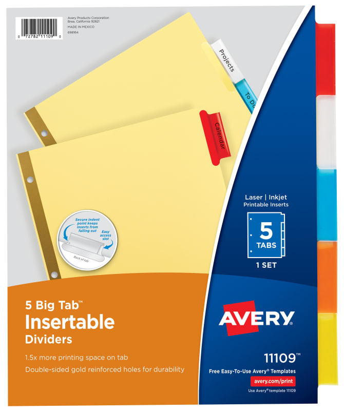 Avery Big Tab Insertable Dividers 5 Tab Set Multicolor 11109