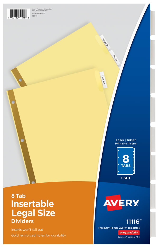 Avery Legal Size Insertable Dividers Clear Tabs 8 Tab Set 11116