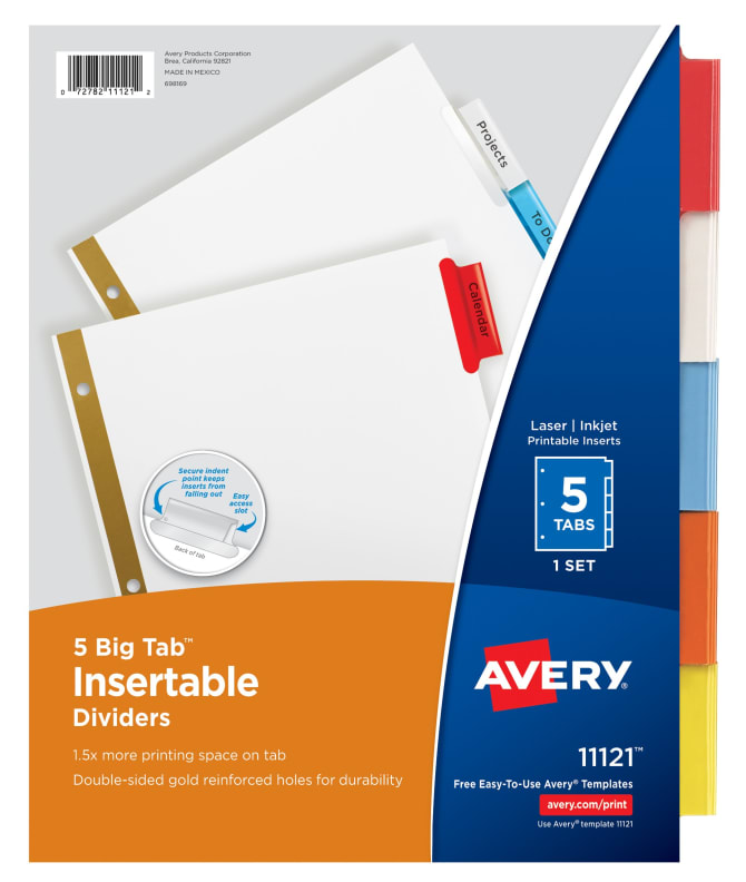Avery Big Tab Insertable Dividers Multicolor 11121 Avery