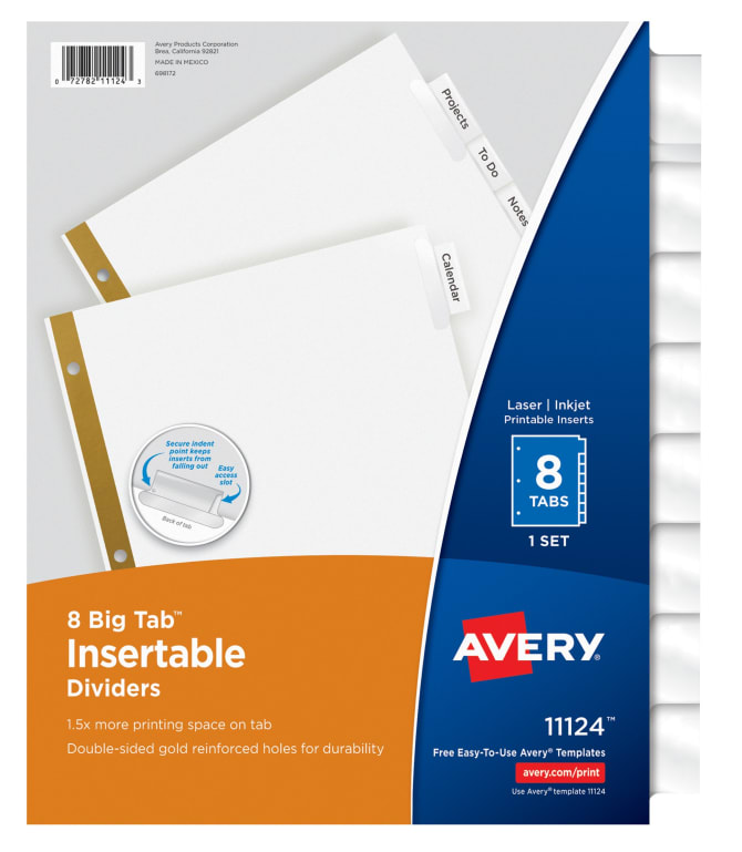 Avery Big Tab™ Insertable Dividers 8-Tab Set (11124) | Avery.com