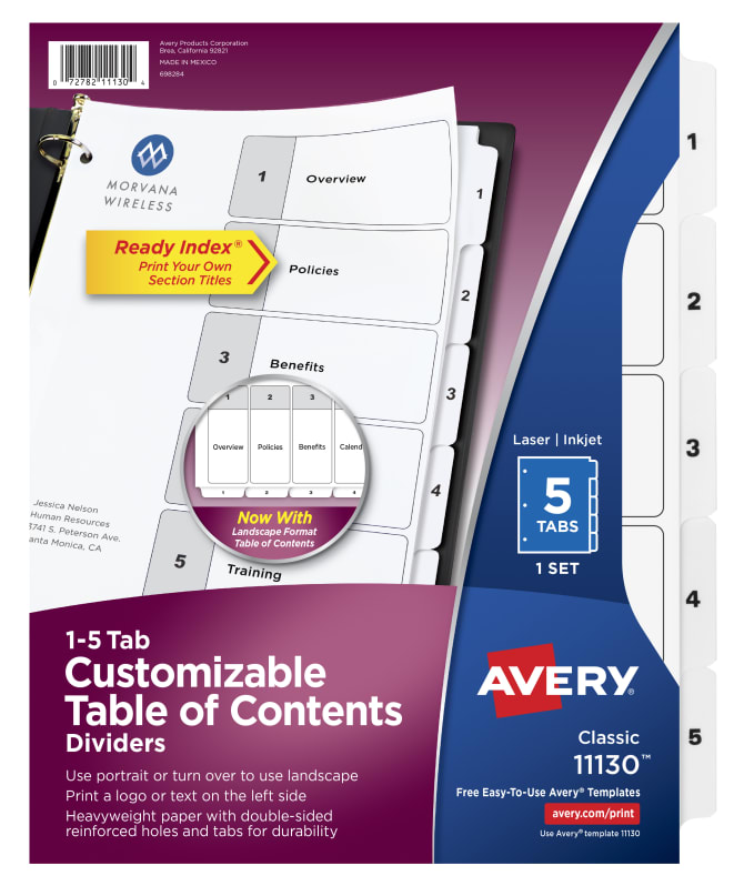 Avery Customizable Table Of Contents Dividers 5 Tab Set 11130
