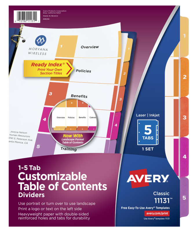 graphic regarding Free Printable Table of Contents Template called Avery® Customizable Desk of Contents Dividers, Prepared Index® Printable Element Titles, Preprinted 1-5 Multicolor Tabs, 1 Fixed (11131)