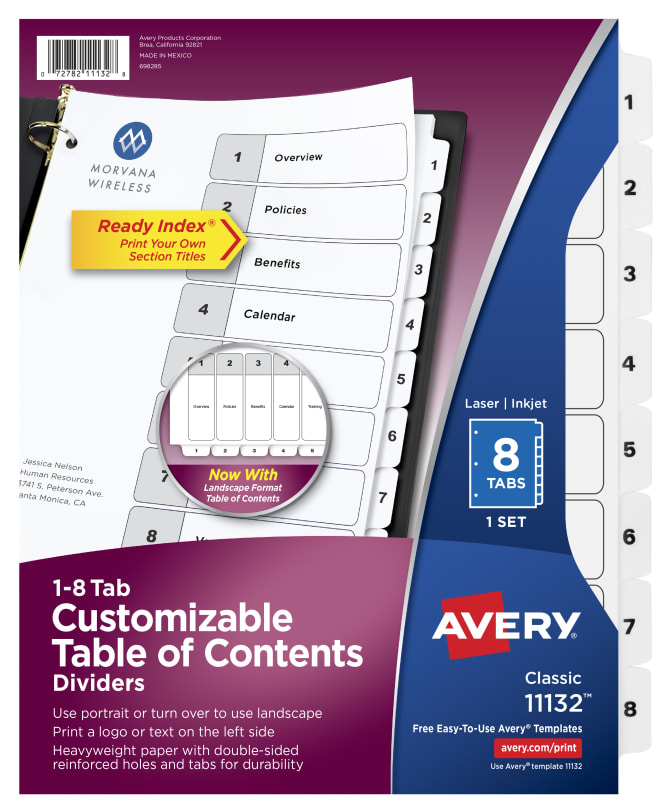 Avery Customizable Table Of Contents Dividers 8 Tab Set 11132