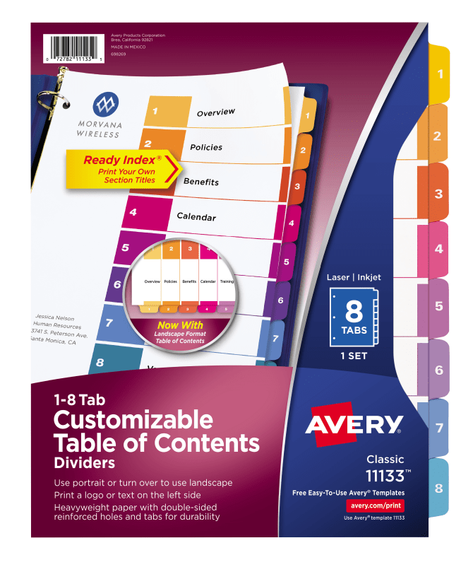 Avery Customizable Table Of Contents Dividers 8 Tab Set Multicolor