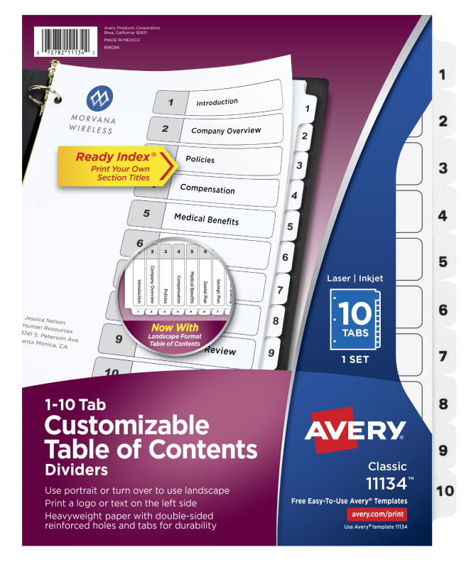 Avery Table Of Contents Dividers 10 Tab Set 11134 Avery