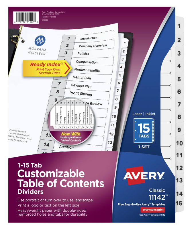 Avery Customizable Table Of Contents Dividers 15 Tab Set 11142
