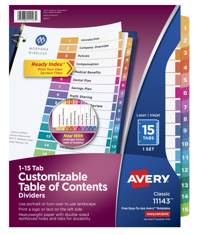 Avery Customizable Table Of Contents Dividers 15 Tab Set Multicolor