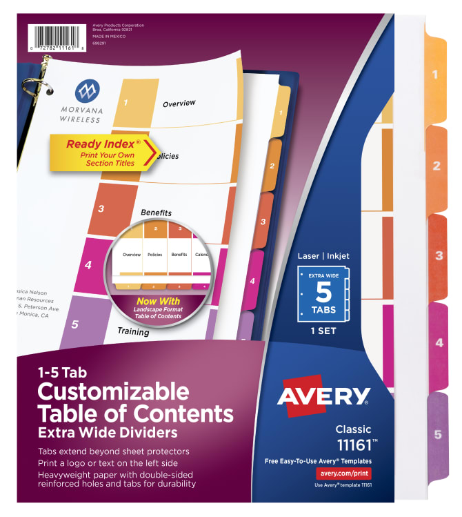 Avery Customizable Extra Wide Table Of Contents Dividers 5 Tab Set