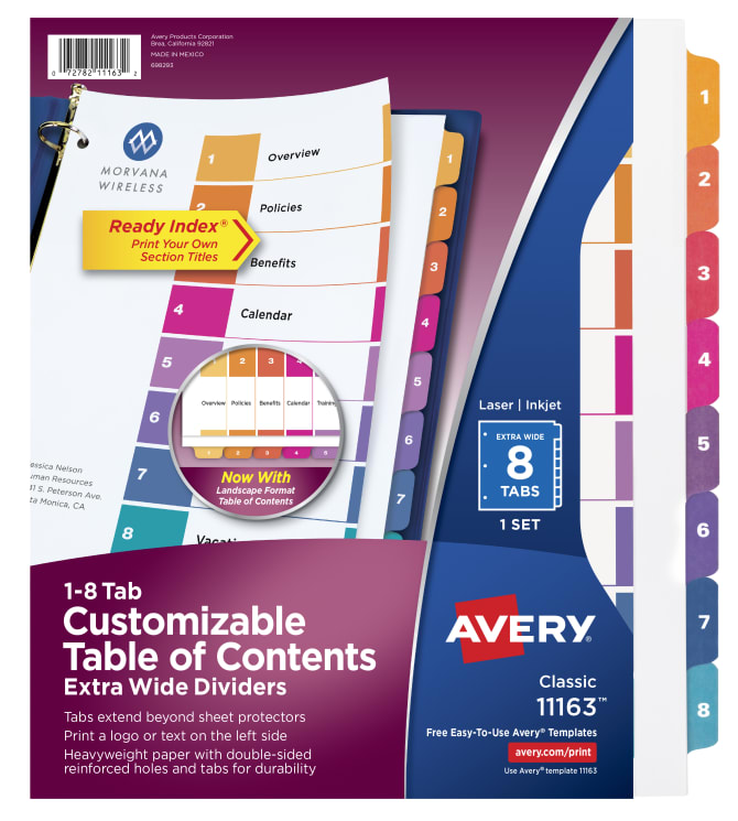 Avery Extra Wide Table Of Contents Dividers 8 Tab Set 11163