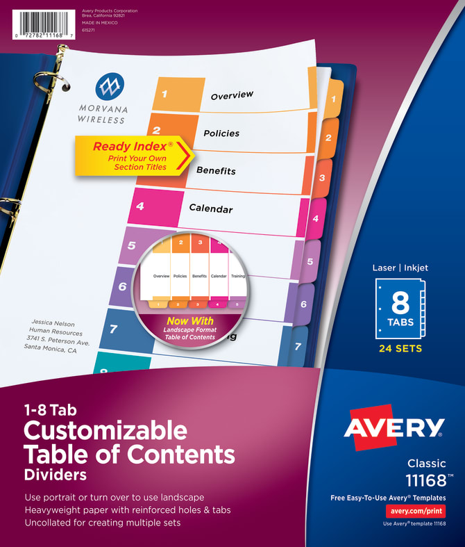 Avery Customizable Table Of Contents Dividers 8 Tab Multicolor