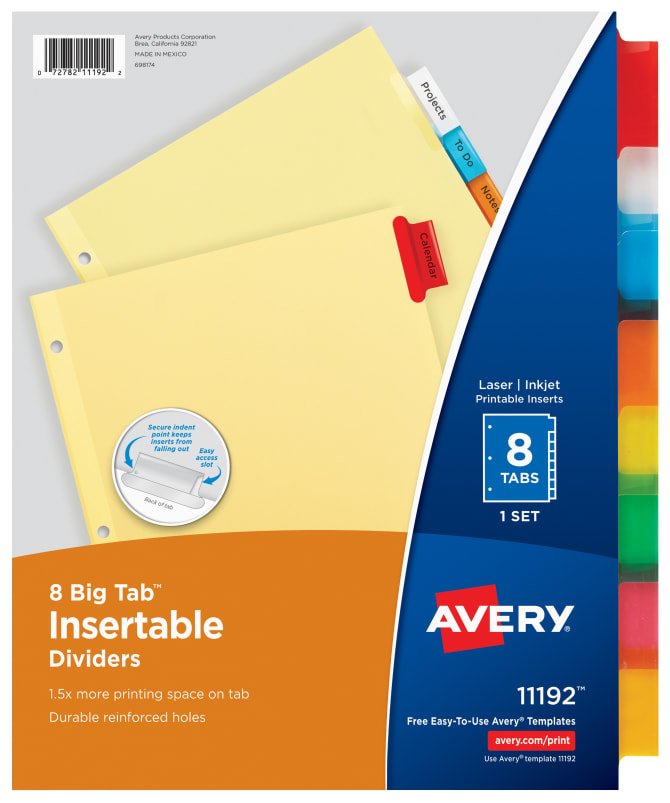 avery big tab insertable dividers 8 tab set multicolor 11192 averycom