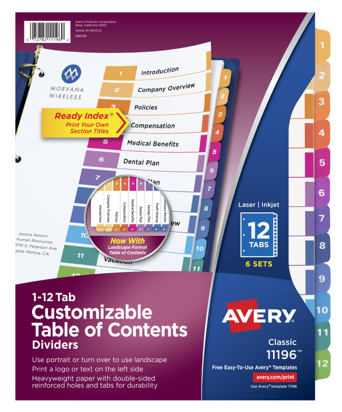 Avery Customizable Table Of Contents Dividers 6 Sets Multicolor