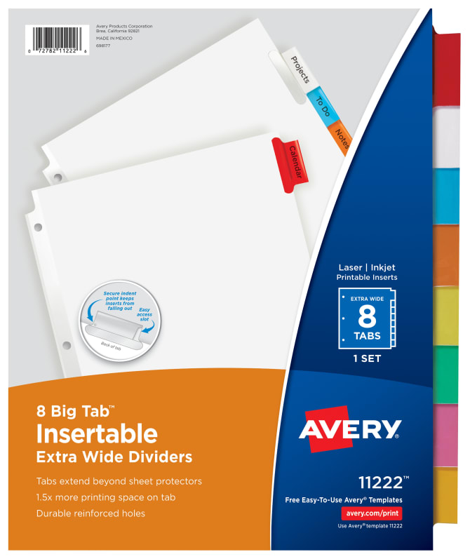 Avery Big Tab Insertable Extra Wide Dividers Multicolor 11222