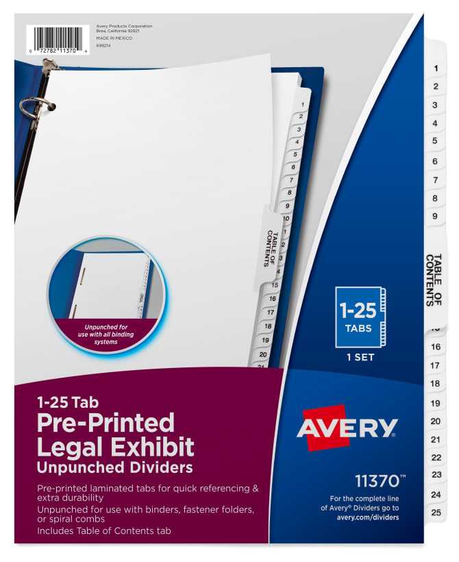 Avery Premium Collated Legal Dividers Avery Style 1 25 Amp Table