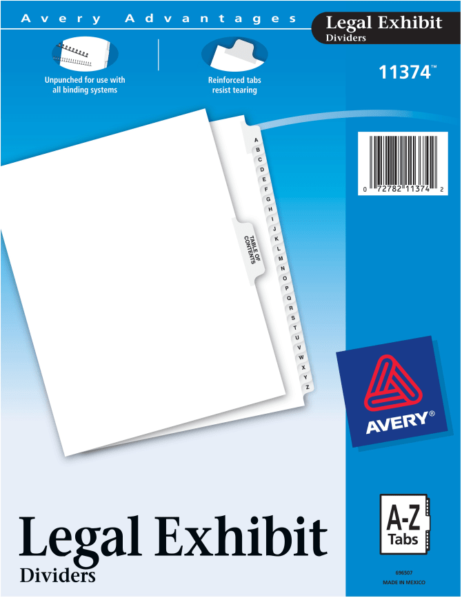 Avery Allstate-Style Legal Index Dividers 25-Tab Exhibit A-Z Letter White 26//PK