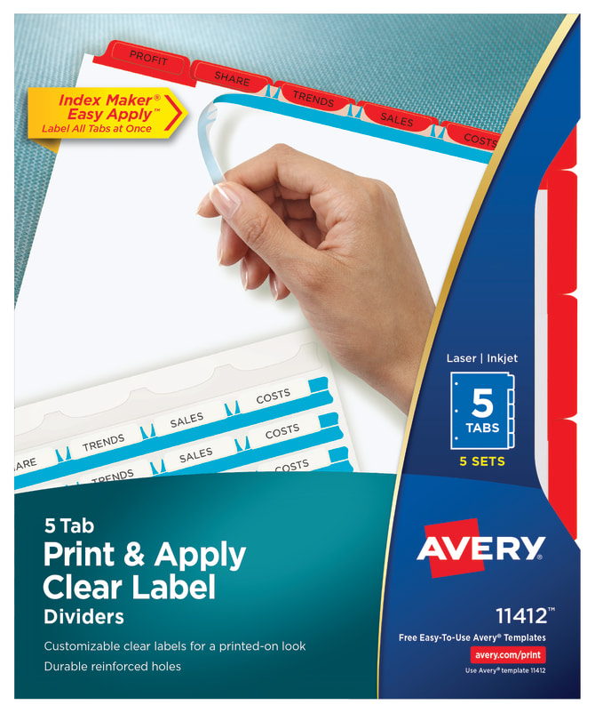 Avery Print Apply Dividers 5 Tabs Red 11412 Avery