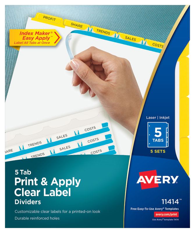 Avery Print Apply Dividers 5 Tabs Yellow 11414 Avery
