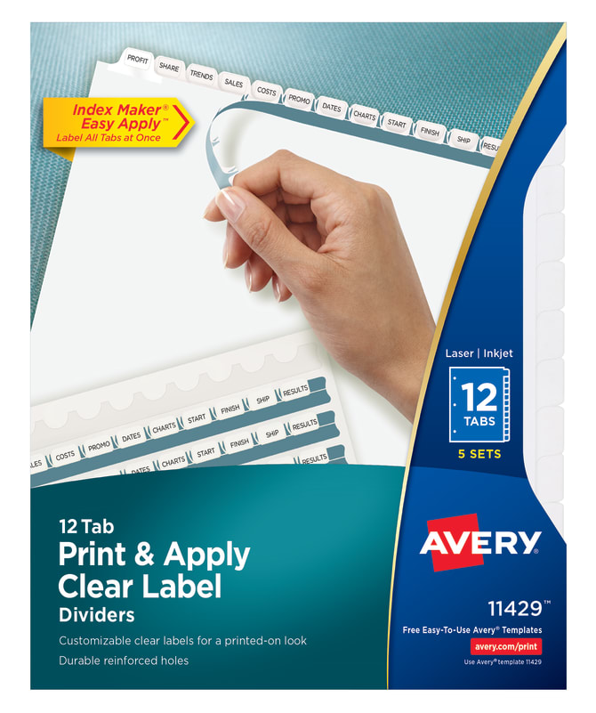 Avery Print Apply Dividers White 5 Sets 11429 Avery