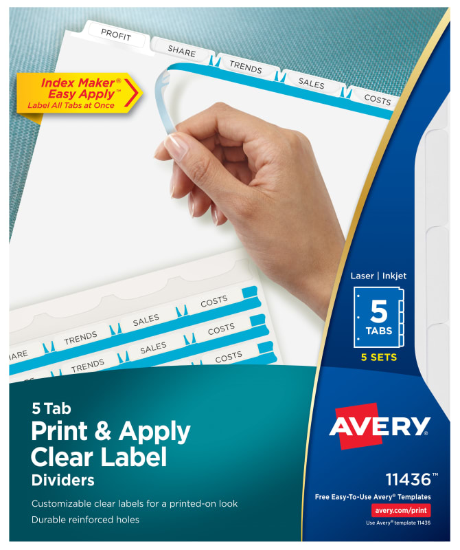 Avery Print Apply Clear Label Dividers Index Maker Easy Apply Printable Label Strip 5 White Tabs 5 Sets 11436