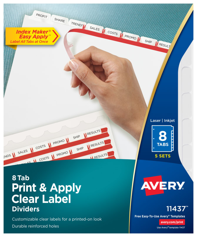 Avery Print Apply Dividers 8 Tabs 5 Sets 11437 Avery