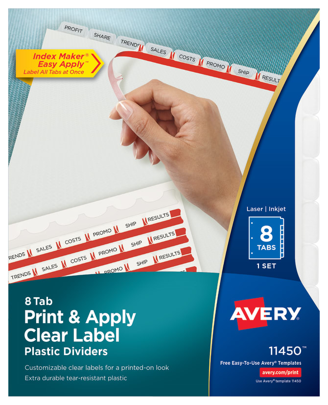 Avery Print Apply Plastic Dividers Index Maker Easy Apply Clear