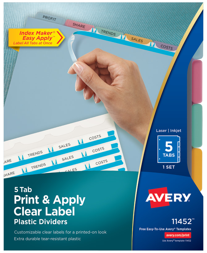 Avery Print Apply Plastic Dividers Multicolor Averycom - Avery print on tabs template
