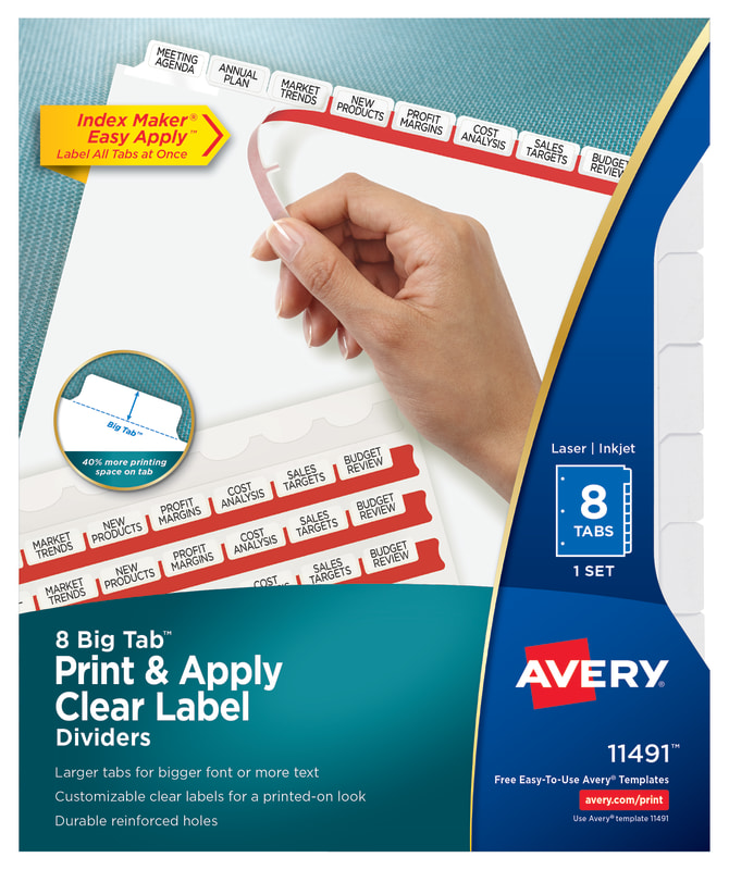 Avery Big Tab Print Apply Dividers Index Maker Easy Apply