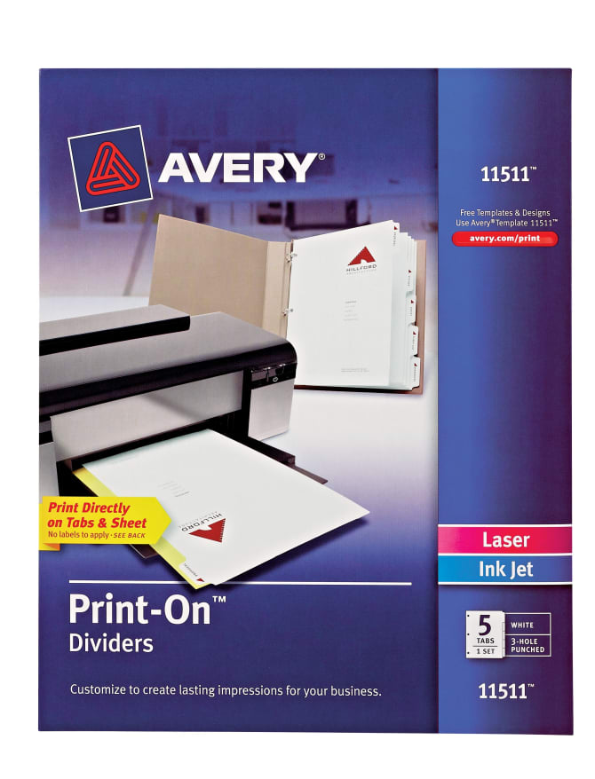 Avery Print On Dividers 5 Tab Set 11511 Avery