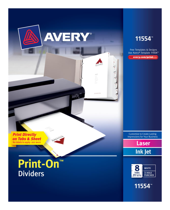 Avery PrintOn Dividers Sets Averycom - Avery print on tabs template