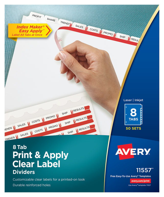 Avery Print Apply Dividers 8 Tabs 50 Sets 11557 Avery