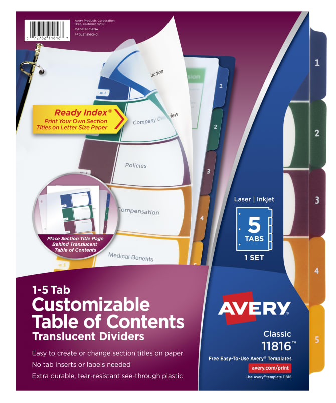 Avery Customizable Table Of Contents Plastic Dividers 5 Tab Set