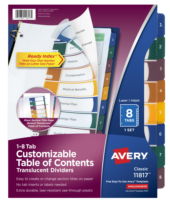 Avery Customizable Plastic Table Of Contents Dividers 8 Tab Set