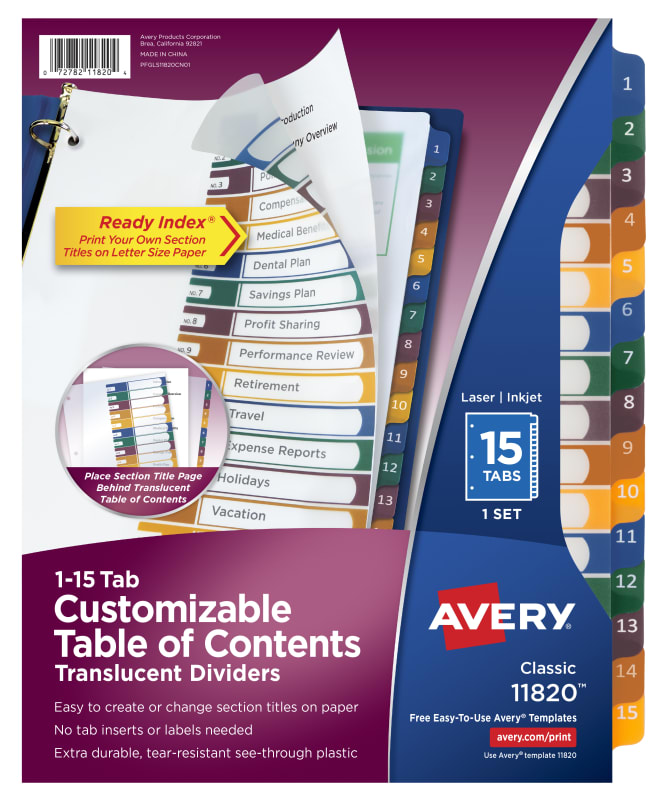 Avery Customizable Table Of Contents Plastic Dividers 15 Tab Set