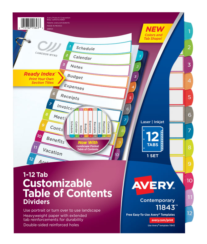Avery Customizable Table Of Contents Dividers 12 Tab Set Multicolor