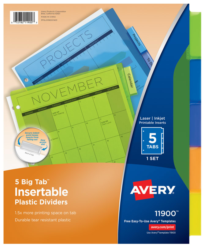 Avery Big Tab Insertable Plastic Dividers Multicolor 11900