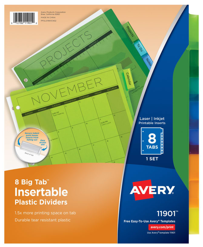 Avery Big Tab Insertable Plastic Dividers Multicolor - Avery print on tabs template