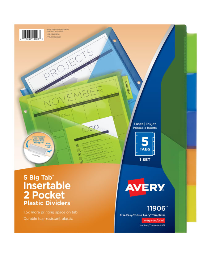 Avery Big Tab Insertable Two Pocket Plastic Dividers Multicolor