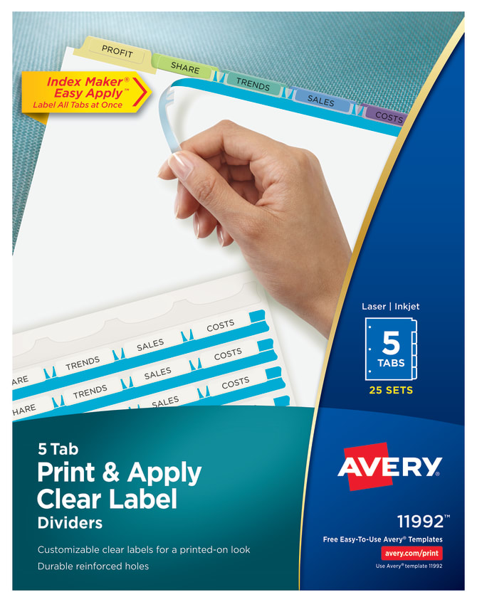 avery print apply dividers 25 sets multicolor 11992 averycom