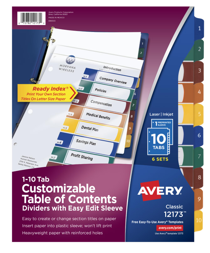Avery Customizable Easy Edit Table Of Contents Dividers 6 Sets