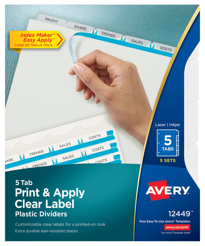 Avery Print Apply Plastic Dividers 5 Sets 12449 Avery